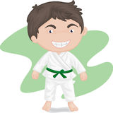 Boy playing koong-foo-karate Stock Photos
