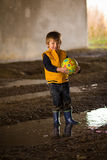 Child boy playing mud Royalty Free Stock Photo