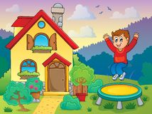 Boy playing near house theme 1 Stock Photography