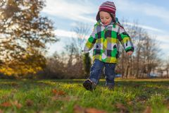 Boy playing in the park in autumn stock photos