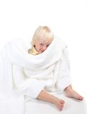 Boy Playing Peek a Boo With a Towel Royalty Free Stock Image
