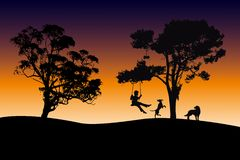 Boy playing with pets at dawn. Boy swinging under the trees with pets at dawn stock illustration