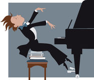 Boy playing a piano. Funny kid expressively playing a piano, vector cartoon Royalty Free Stock Photos