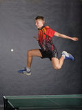 Boy playing ping pong Stock Photos