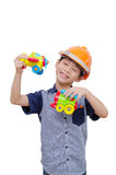Boy playing with plane and train toy Royalty Free Stock Photography