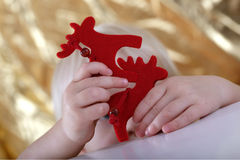 Boy playing with puppets. Boy playing theater with hand puppets Royalty Free Stock Images