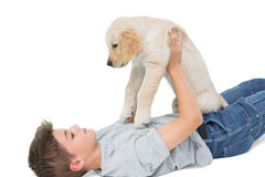 Boy playing with puppy Royalty Free Stock Image