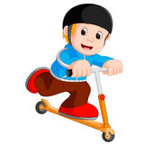 A boy playing push bicycle. Illustration of a boy playing push bicycle Royalty Free Stock Photo