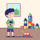 Boy playing with remote controlled car vector illustration