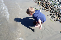 Boy Playing in Sand. Toddler on Alki Beach, Seattle, Washington, USA Stock Image