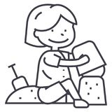 Boy playing with sand on beach or sandbox,scapula and bucket vector line icon, sign, illustration on background. Boy playing with sand on beach or sandbox Royalty Free Stock Image