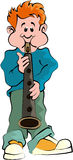 Boy playing Sax. Cartoon artwork line-art with empty balloon Stock Images