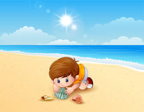 Boy playing a sea shells at the beach. Illustration of Boy playing a sea shells at the beach Stock Photography