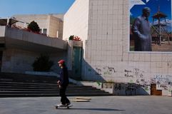 Boy playing skateboard at Novi Sad Stock Photo