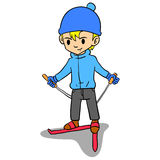 Boy playing ski character style Royalty Free Stock Photography