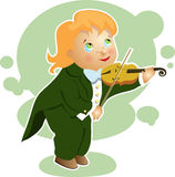 Boy playing a small violin cartoon Royalty Free Stock Photography