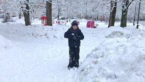 A boy playing snowballs in snowy winter park - childhood, leisure and season concept.  stock footage