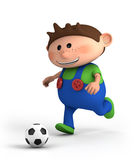 Boy playing soccer. Cute little cartoon boy playing soccer - high quality 3d illustration Stock Image