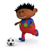 Boy playing soccer. Cute little dark-skinned boy playing soccer - high quality 3d illustration Royalty Free Stock Photos