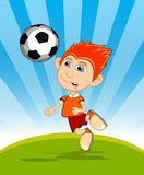 The boy playing soccer cartoon vector illustration Stock Image