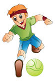 Boy Playing Soccer, illustration Stock Image