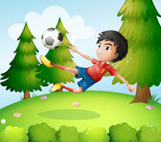 A boy playing soccer near the pine trees Royalty Free Stock Photo