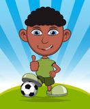 The boy playing soccer vector illustration Stock Photography