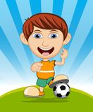 The boy playing soccer vector illustration Stock Photo