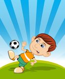 The boy playing soccer vector illustration Royalty Free Stock Photography