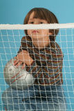 Boy playing with a socker ball. And a net Royalty Free Stock Photo