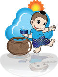Boy playing songkran day. In water festival Royalty Free Stock Photo