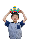 Boy playing spaceship block Royalty Free Stock Image
