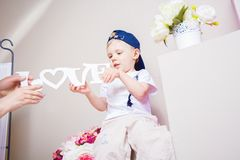 Boy playing in the studio. many interesting details. Royalty Free Stock Image