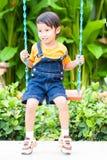 Boy playing swing Royalty Free Stock Image