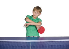 Boy playing table tennis Stock Photography