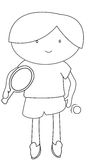 Boy playing table tennis coloring page Royalty Free Stock Photos