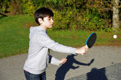 Boy playing table tennis Royalty Free Stock Photography