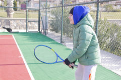 The  Boy is Playing Tennis. Happy Boy is Playing Tennis Stock Photo