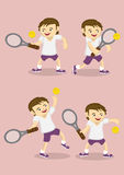 Boy Playing Tennis Vector Cartoon Royalty Free Stock Image