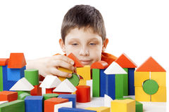 Boy playing toy blocks Royalty Free Stock Photography