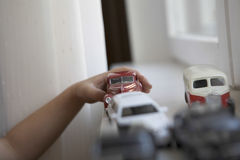 Boy Playing With Toy Cars Stock Photography