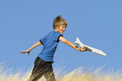 Boy Playing With Toy Glider Airplane Royalty Free Stock Photography