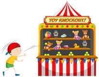 Boy playing toy knockout at carnival. Illustration Stock Photos