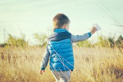 A boy is playing with a toy paper airplane against the blue sky in the field Royalty Free Stock Photos