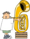 Boy playing a tuba Royalty Free Stock Photo