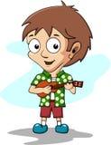 Boy playing ukulele stock illustration