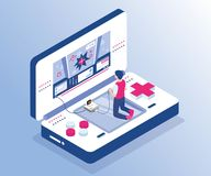 A Boy Playing Video game on a Gaming Console Isometric Artwork Concept. vector illustration