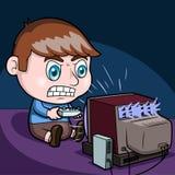 Boy playing video games stock photos