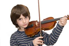 Boy playing violin. Isolated on white background Stock Photo