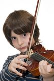 Boy playing violin. Isolated on white background Royalty Free Stock Photography